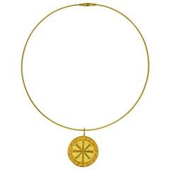 22 Karat Gold Ixthus Charm Pendant Necklace
