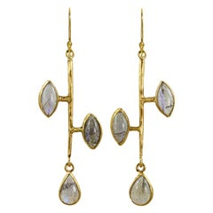 22 Karat Gold Labradorite Stick Earrings
