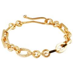 22 Karat Gold Mixed Link Bracelet with Brilliant Cut Channel Set Diamonds