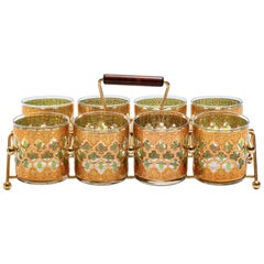 22-Karat Gold Moroccan Themed Rocks Glasses with Carrying Tray, circa 1965