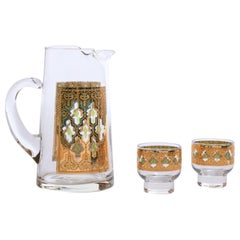 22-Karat Gold Moroccan Themed Vintage Beverage or Water Pitcher with Glasses
