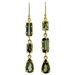 22 Karat Gold Mossy Green Three-Stone Tourmaline Earrings