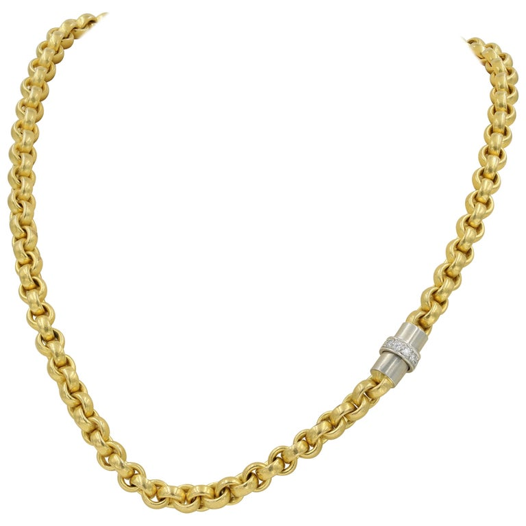 22 Karat Gold Necklace with Platinum and Diamond Clasp, German For Sale
