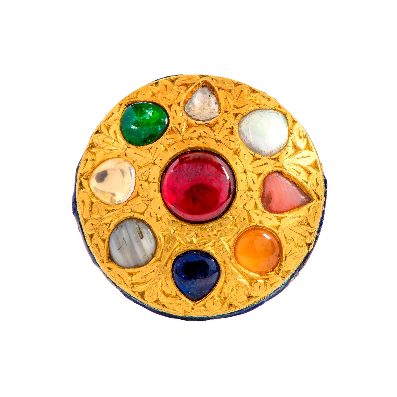 22 Karat Gold Nine Precious Gems Cocktail Ring with Blue Enamel Work