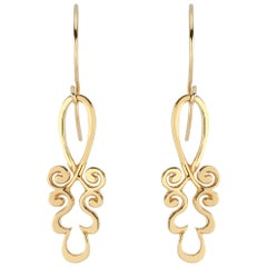 22 Karat Gold Pendant Earrings in Ornamental Tendril Motif
