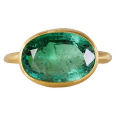 22 Karat Gold Ring with 5.09 Carat Oval Emerald