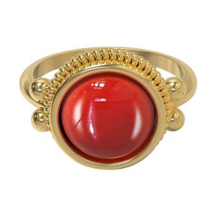 22 Karat Gold Ring with Cabochon Stone, Romae Jewelry Inspired, Ancient Examples