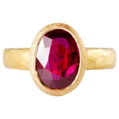 22 Karat Gold Ring with Oval Brilliant Cut Natural Ruby 3.04 Carat GIA Certified