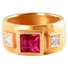 22 Karat Gold Ring with Square Ruby 1.56 Carat and Princess Cut Diamonds