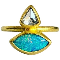 22 Karat Gold, Rose Cut Diamond, Australian Opal Double Stone Ring
