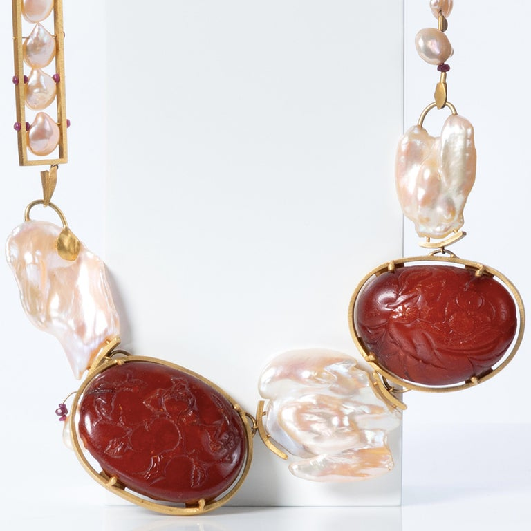 Artist 22 Karat Gold, Rubies, Baroque Pearls and Baltic Amber Necklace For Sale