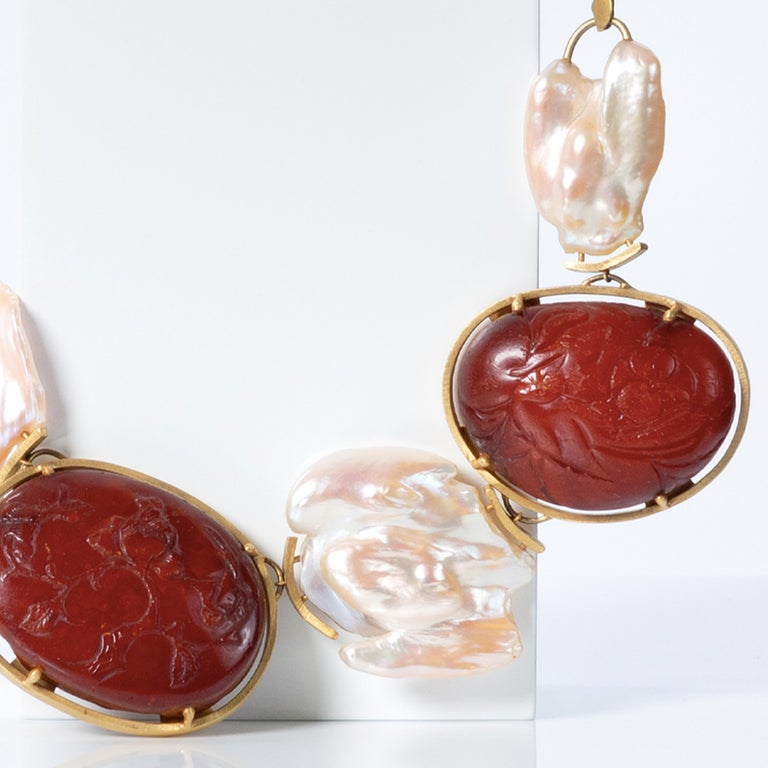 Cabochon 22 Karat Gold, Rubies, Baroque Pearls and Baltic Amber Necklace For Sale