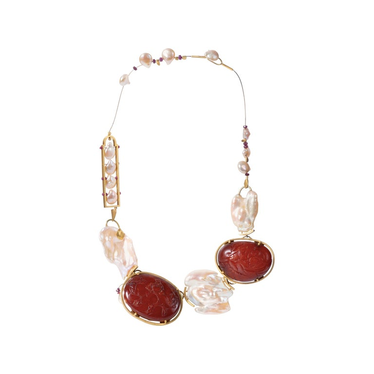 22 Karat Gold, Rubies, Baroque Pearls and Baltic Amber Necklace For Sale