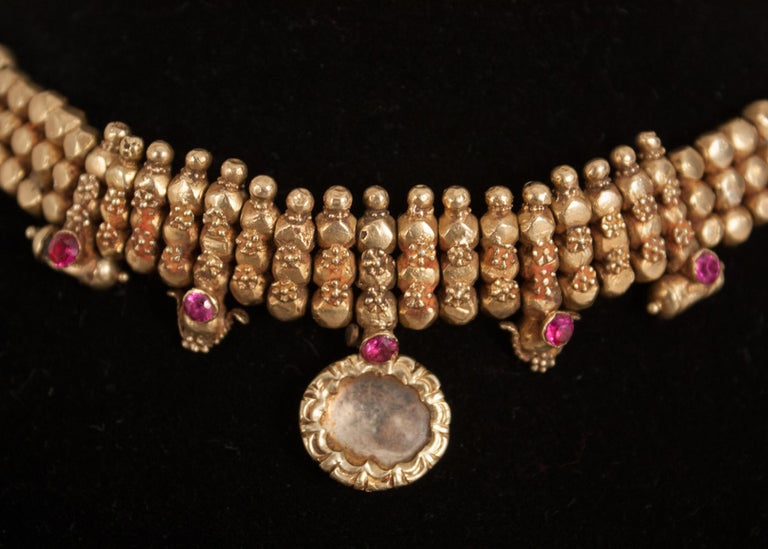 22 Karat Gold, Ruby, Crystal Choker Necklace For Sale at ...