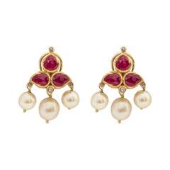 22 Karat Gold Ruby, Diamond, and Pearl Stud Earring Enamel Work Handcrafted