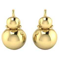 22 Karat Gold Small Sphere Earrings by Romae Jewelry Inspired by Roman Examples