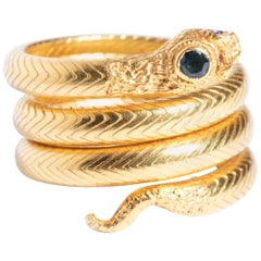 22 Karat Gold Snake Ring with Sapphires and Diamonds