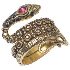 22 Karat Gold Snake Ring with Sapphires, Diamonds and Ruby