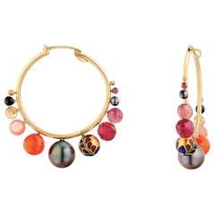 22 Karat Gold, Vitreous Enamel Meenakari Kimono Tahitian Pearl Hoop Earrings
