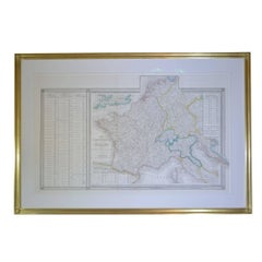 22-Karat Gold Leaf Framed Map of Napoleon's Empire, 1811