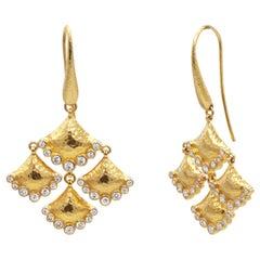 GURHAN 22 Karat Hammered Yellow Gold and Diamond Chandelier Earrings