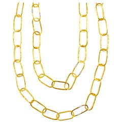22 Karat Hammered Gold and White Pave Diamond Link Necklace