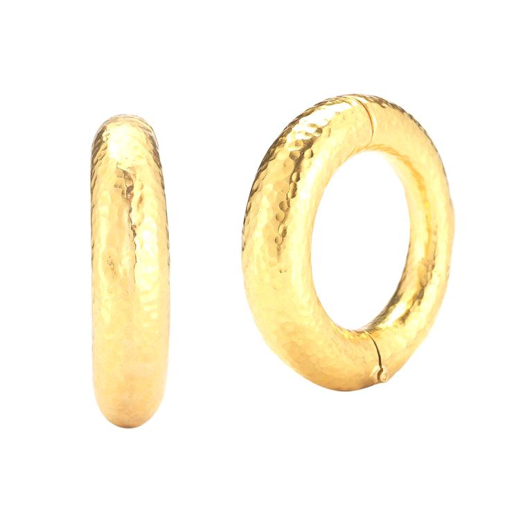 22 Karat Hammered Yellow Gold Hoop Earrings