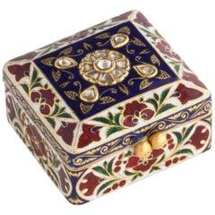 22 Karat Jaipur Indian Gold Enamel and Diamonds Pill Snuff Box