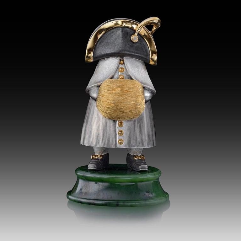 Contemporary 22 Karat Silver Jade Stand Figurine For Sale