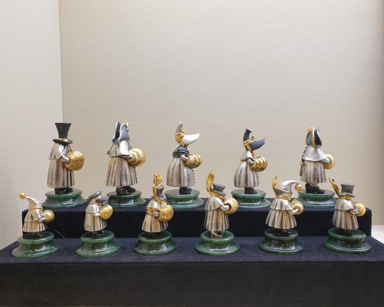 22 Karat Silver Jade Stand Figurine For Sale 4