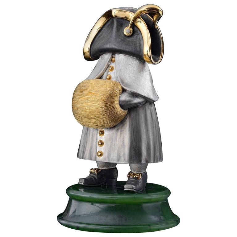 22 Karat Silver Jade Stand Figurine For Sale