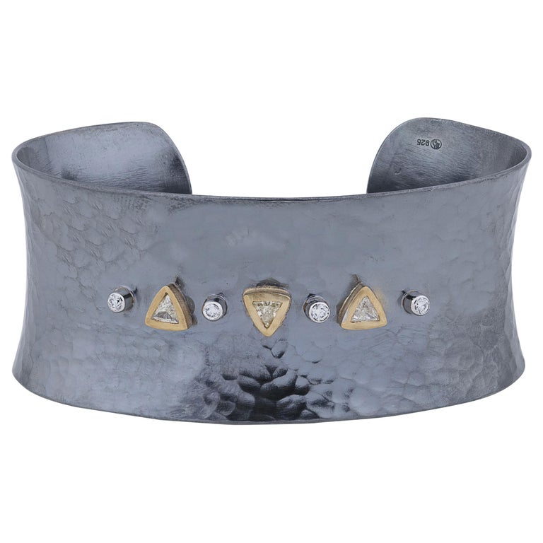 22 Karat Yellow Gold and Oxidized Silver Open Cuff Bracelet with Diamonds For Sale