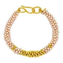 22 Karat Yellow Gold and Pink Pearl Braided Bead Bracelet