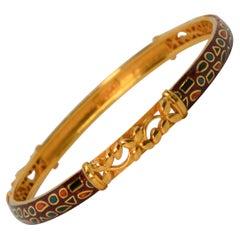 22 Karat Yellow Gold Red Enamel Artisan Bracelet