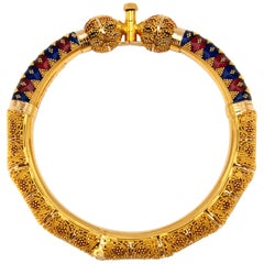 22 Karat Yellow Gold Ball Meenakari Enamel Bangle Bracelet