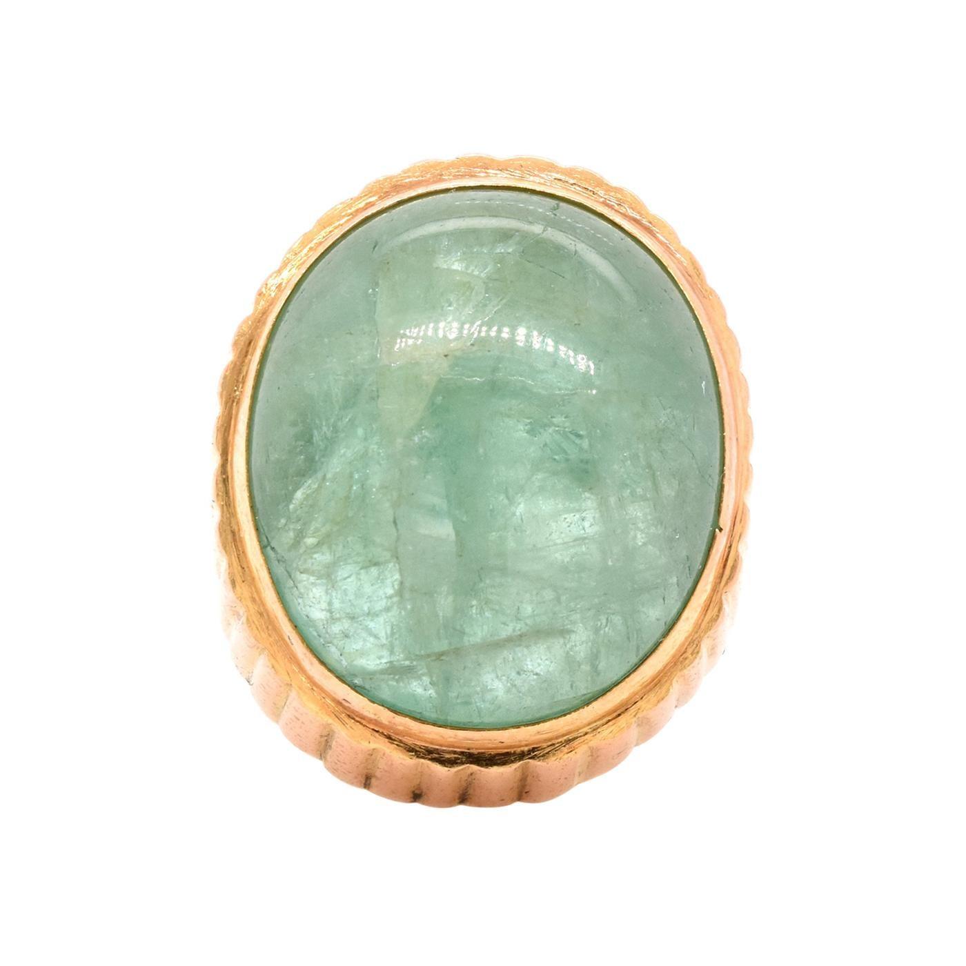 22 Karat Yellow Gold Cabochon Cut Emerald Ring