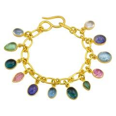 22 Karat Yellow Gold Chain and Gemstone Charm Bracelet