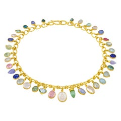 22 Karat Yellow Gold Chain and Gemstone Charm Necklace