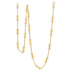 "22 Karat Yellow Gold Chinese ""Long Life"" Necklace"