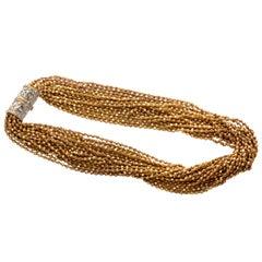 22 Karat Yellow Gold Detachable Necklace with 18 Karat Gold Diamond Clasps