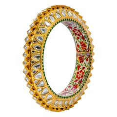 22 Karat Yellow Gold Diamond and Red Enamel Handcrafted Bangle