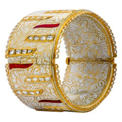 22 Karat Yellow Gold Diamond, Red, and White Enamel Handcrafted Bangle
