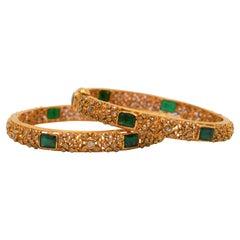 22 Karat Yellow Gold, Emerald and Diamond Bangle Bracelet Pair