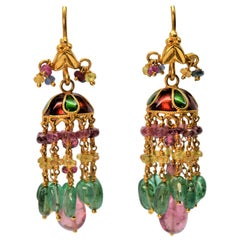 22 Karat Yellow Gold Emerald and Ruby Earrings with Enamel Accents