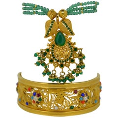 22 Karat Yellow Gold Filigree Gem Stone Bangle Cuff Bracelet & Necklace Set