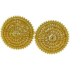 22 Karat Yellow Gold Flower Big Stud Earring, Omega Back, 22 Karat Gold