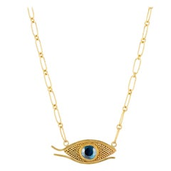 Egyptian Eye, Blue Rose Cut Spinel, Granulated Gold Pendant Chain Necklace