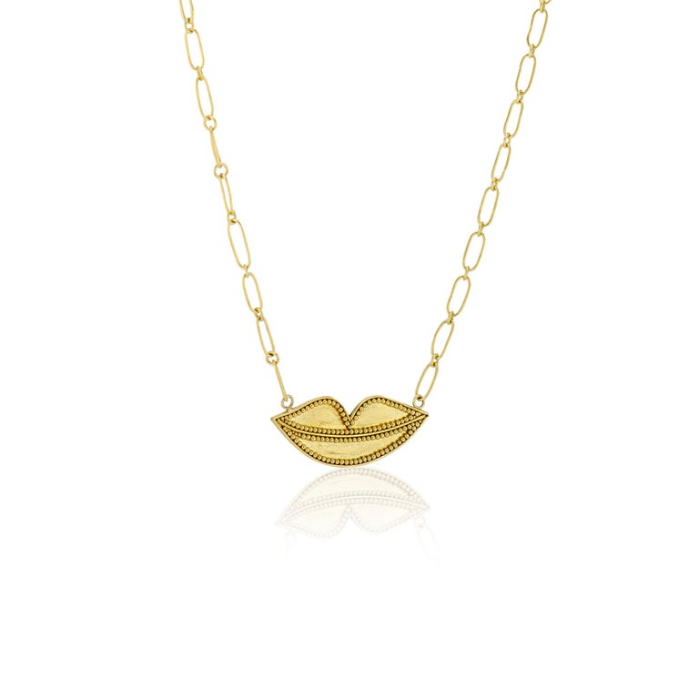 Women's or Men's 22 Karat Yellow Gold Granulated Smiling Lips Necklace with 22 Karat Link Chain For Sale