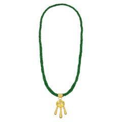 22 Karat Yellow Gold Green Garnet and Yellow Beryl Sautoir Necklace