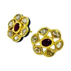 22 Karat Yellow Gold India Enamel Diamonds Earrings